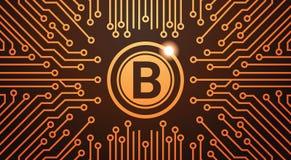 Fond d'or de circuit de concept d'argent de Web de devise de Bitcoin Digital Image libre de droits