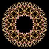 Fond d'or de cru, vignette, cadre de bijoux avec la gemme rouge illustration libre de droits