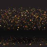 Fond d'or de luxe d'étincelle, rougeoyer de magie de scintillement Le noir et l'or dirigent la poussière lumineuse avec le bokeh images stock