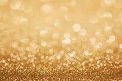 Fond d'or de Noël de scintillement Images libres de droits