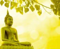 Fond d'or de religion de prêtre de statue de Bouddha photos stock