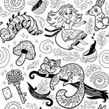 Fond d'encre de conte de fées avec des personnages de dessin animé d'Alice au pays des merveilles Photographie stock