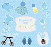 Fond d'enfants avec les icônes colorées de bébé garçon illustration libre de droits