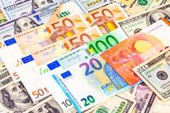 Fond d'euro billets de banque et de dollars américains Photo libre de droits