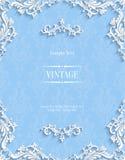 Fond 3d floral bleu de vecteur Calibre pour des cartes d'invitation de Noël Photos libres de droits