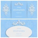 Fond 3d floral bleu de vecteur Calibre pour des cartes de Noël et d'invitation Images stock