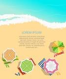 Fond d'heure d'été Sunny Beach dans le vecteur plat de style de conception Image stock