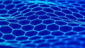 Fond d'hexagone abr?gez le fond Points et lignes se reliants sur le fond fonc? rendu 3d 4K illustration stock
