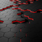 Fond d'hexagone de fibre de carbone Images stock