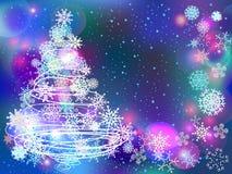 Fond d'hiver avec l'arbre et les flocons de neige Photographie stock libre de droits