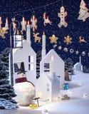 Fond d'hiver, bonhomme de neige Photo libre de droits