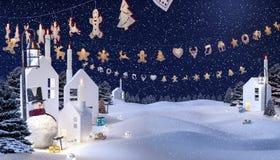 Fond d'hiver, bonhomme de neige Image libre de droits