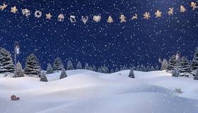 Fond d'hiver, bonhomme de neige Photographie stock