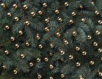 Fond d'hiver des branches de sapin Orné avec des babioles d'or Carte de Noël Vue supérieure Félicitations de Noël images libres de droits