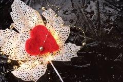 Fond d'hiver ou de Noël ou concept de valentine avec une feuille rougeoyante décorative blanche et un coeur rouge Image libre de droits