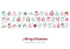Fond d'icônes de Noël illustration stock