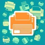 Fond d'icônes d'imprimante Photographie stock libre de droits