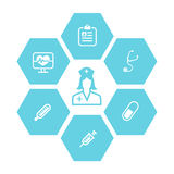 Fond d'icônes de médecine et de santé illustration libre de droits