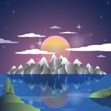 Fond d'illustration de bande dessinée de coucher du soleil de paysage d'Alpes Vecteur de montagnes Images stock