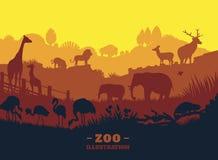 Fond d'illustration du monde de zoo, éléments colorés de silhouettes, plats Photo stock