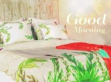 Fond d'image bonjour avec un lit grand Photos stock