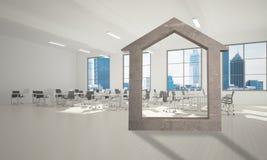 Fond d'image conceptuel d'intérieur moderne de bureau de connexion à la maison concret Photographie stock libre de droits