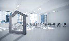 Fond d'image conceptuel d'offi moderne de connexion à la maison concret Image stock