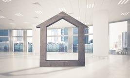 Fond d'image conceptuel d'offi moderne de connexion à la maison concret Images stock