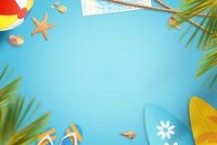 Fond d'image de voyage de vacances de plage d'été avec l'espace libre pour le texte Photo libre de droits