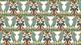 Fond d'image sans couture antique de la spirale animale indigène d'oiseau ronde Images stock