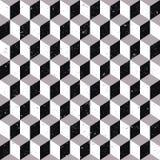 Fond d'image sans couture porté de modèle carré cubique de la géométrie de ton gris Photographie stock