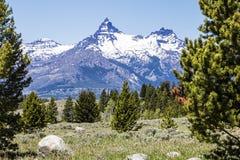 Fond d'Index Peak de pilote de neige de chaîne de montagne Images libres de droits