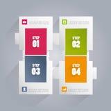 Fond d'Infographics avec les éléments rectangulaires - quatre étapes Images libres de droits
