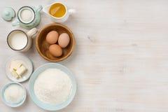 Fond d'ingrédients de cuisson, concept de cuisson, vue supérieure avec l'espace de copie Photo stock