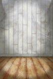 Fond d'intérieur avec le plan en bois coloré de mur et de plancher de pierre Image stock