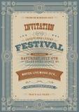 Fond d'invitation de festival de vacances de vintage illustration libre de droits