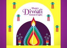 Fond d'invitation pour Diwali, festival des lumières d'indou V illustration libre de droits