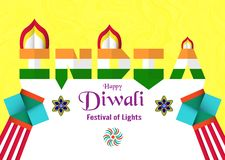 Fond d'invitation pour Diwali, festival des lumières d'indou V illustration stock