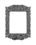 Fond d'isolement par vintage argenté en bois de cadre Photos stock
