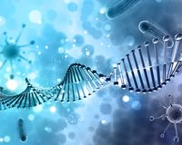 fond 3D médical avec des cellules de brin et de virus d'ADN Photos stock