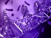 fond 3D médical avec des cellules de brin et de virus d'ADN Image libre de droits
