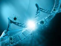 fond 3D médical avec des cellules de virus attaquant un brin d'ADN Photographie stock libre de droits