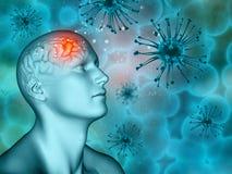 fond 3D médical avec les cellules masculines de chiffre et de virus Image libre de droits