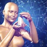 fond 3d médical avec un chiffre femelle tenant la médecine Images libres de droits