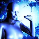 fond 3d médical avec un chiffre femelle tenant la médecine Images stock