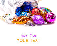 Fond d'an neuf avec les décorations colorées Photographie stock libre de droits