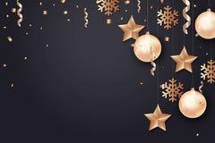 Fond d'an neuf heureux et de Joyeux Noël illustration de vecteur