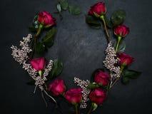 Fond d'obscurité de décor d'argent de guirlande de roses rouges Photo libre de droits