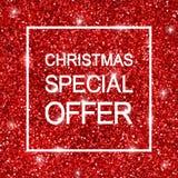 Fond d'offre spéciale de Noël, scintillement rouge Vecteur Photos stock