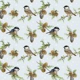Fond d'oiseaux d'hiver rétro Photo libre de droits